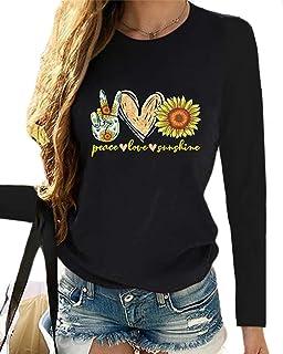 قمصان نسائية من zeyubird مطبوعة باللون الأسود تيشيرتات الإيمان عليها صورة عباد الشمس بأكمام طويلة للنساء...