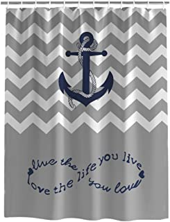 YEHO Art Gallery Fabric Bathroom Shower Curtain,Anchor Love The Life You Live Chevron Zig Zag Ripple Grey White,Washable Curtain Sets with Hooks Bathroom Accessories Home Decor,66 x 72 Inch