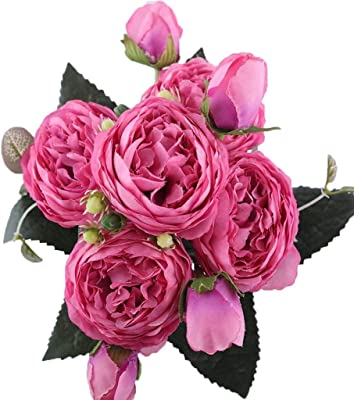 9 Heads 31cm Artificial Silk Roses Flowers Fake Bridal Bridesmaid Flower Bouquet for Home Garden Wedding Party Decoration Light Pink