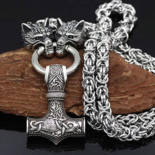 QZY Edelstahl Kette - Wikinger Wolfskopf Mit Thors Hammer Mjolnir Wolf Anhänger Halskette Männer Amulett Thor Hammer Anhänger Halskette Wikinger Königskette,Mjolnir,70