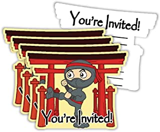 Ninja Warrior Birthday Party Invitations & Envelopes Value Pack (20 Count)