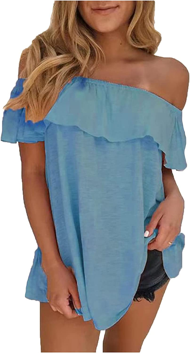 Women's Ruffled One-Line Neck Off Ranking TOP1 Short Te Shoulder Sleeve New arrival Loose