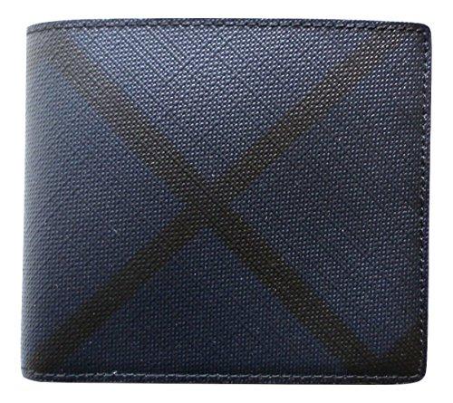 Burberry portafoglio uomo pelle bifold originale blu