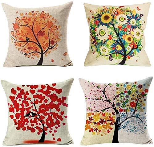 Juego de 4 fundas de cojín, diseño de pájaros y árboles, algodón y lino, fundas de almohada decorativas para sofá de 45,7 x 45,7 cm