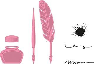 Marianne Design COL1375 Plume et Encrier à Collectionner, Métal, Rose, 2 x 1,1 x 0,4 cm