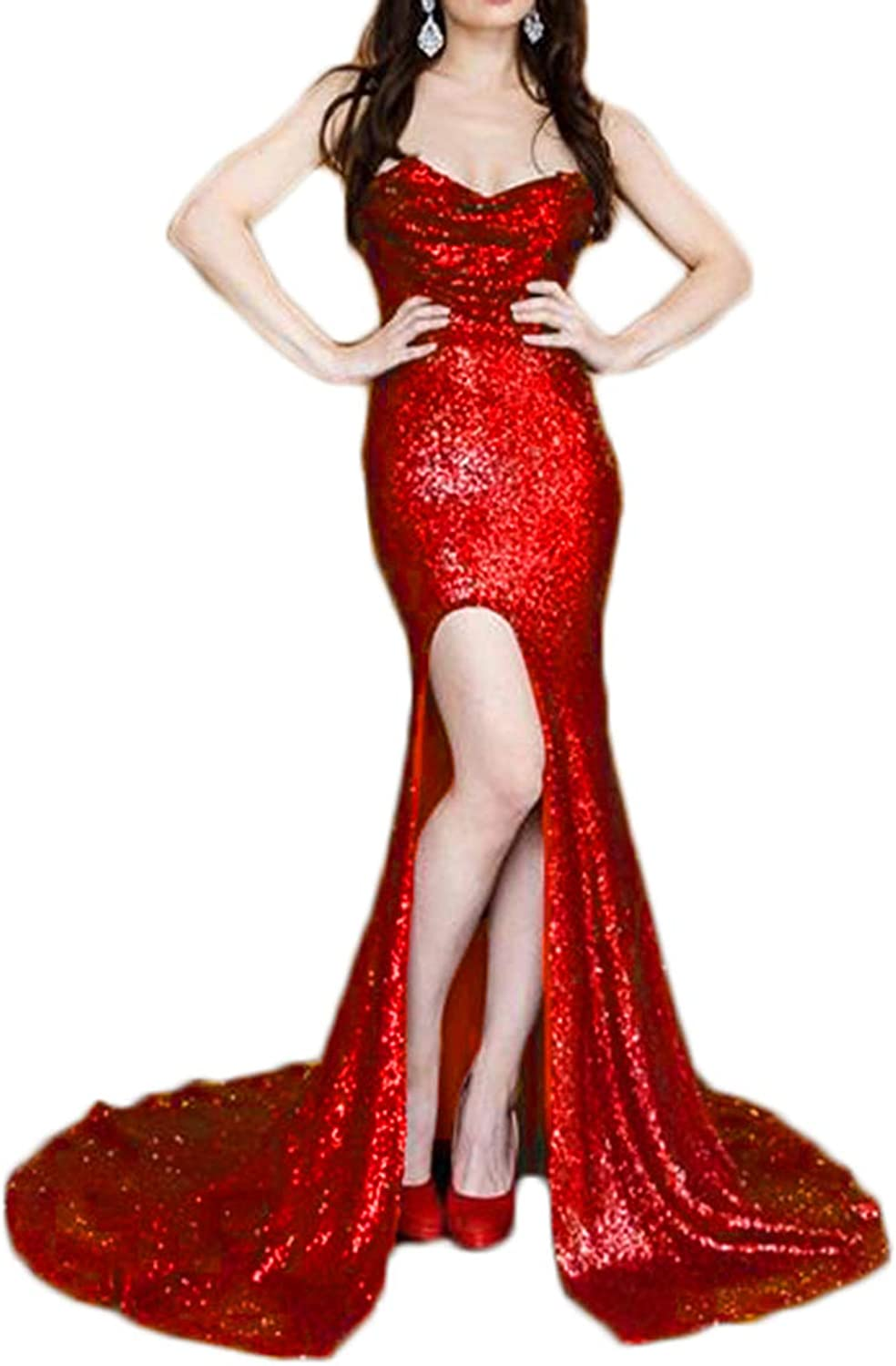Alilith.Z Sexy High Side Split Sequins Prom Dresses Mermaid Long Formal Evening Dresses Party Gowns for Women