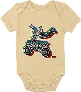 HARIZ Body de manga corta para bebé con diseño de vehículo de motociclismo y tractor, incluye tarjeta de regalo