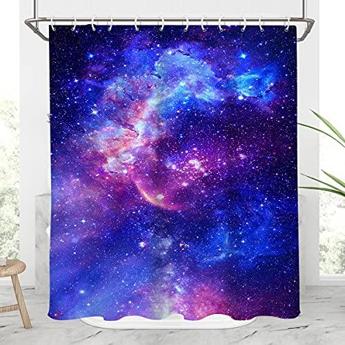 AAtter Weltraum-Galaxie-Duschvorhang, Badewanne, Nebel, Fantasie, Galaxie, Universum, Solar-Planeten-Design, Heim-Badezimmerdekor, Badewannen-Set, 60 x 72 cm, Violett / Blau