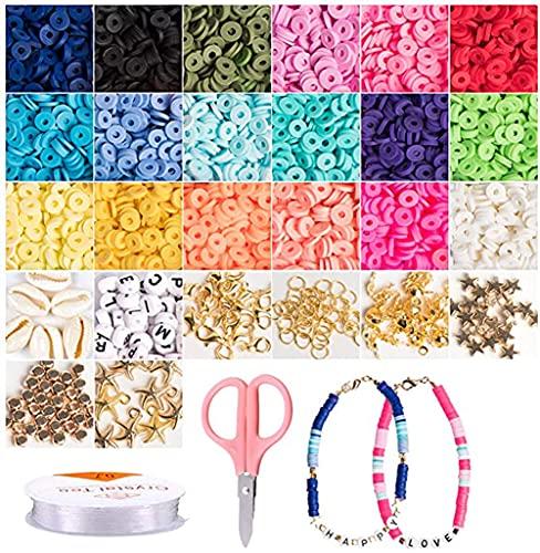 Cozywind Espaciadores de Arcilla, 4200+piezas Cuentas Coloridas Abalorios, Cuentas Planas para Bisutería Collar Pendientes Pulseras para Niños y Adultas (6 mm, 18 colores)