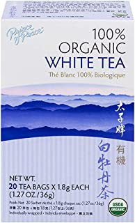 Prince of Peace Organic White Tea, 20 Tea Bags – 100% Organic White Tea – Unsweetened White Tea – Lower Caffeine Alternati...