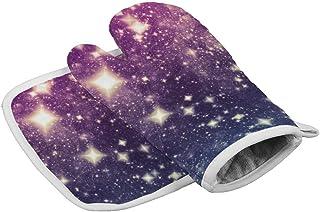 Huyotop Pasajes de colores brillantes resistentes al calor aislados manoplas de horno guantes de cocina para hornear barbacoa