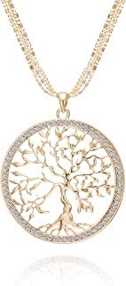Albero della vita Collana per Donna, Collana con ciondolo celtico con collana a catena lunga in cristallo oro rosa o argento