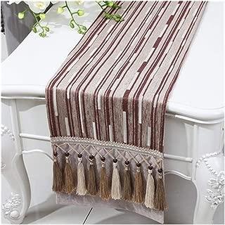 Stripe-Multi Troddel-Tabellen-Läufer Rechteck Tabelle Flag Cloth High End Essen Chenillegewebe Tabelle Schutzmatten Deko-Party Color : Khaki, Size : 300 x 33 cm