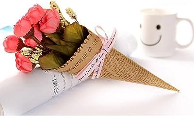 DELIBEST 10 piezas de flores artificiales de boda, ramo de simulación de boda europeo, decoración de la sala de estar, decoración de flores falsas, accesorios para fotos (5#)