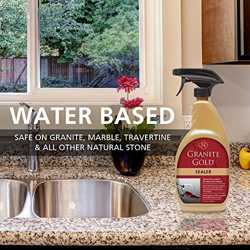 Granite Gold Sealer Spray Water-Based Sealing to Preserve and Protect Granite, Marble, Travertine, Natural Stone Countertops - Made in the USA, 24 Ounce