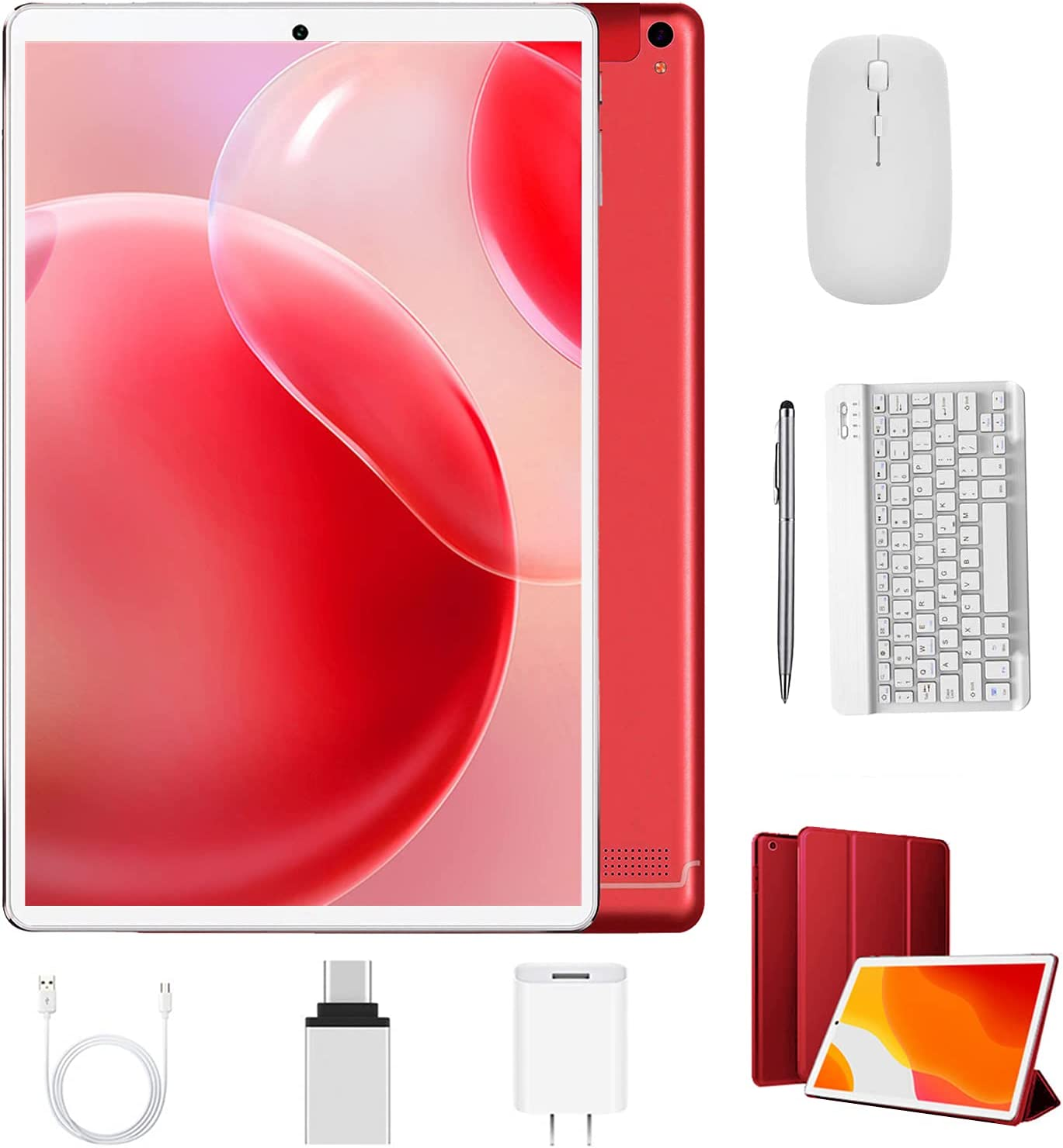 2 in 1 Tablet 10 inch Android 10.0 Tablets with Keyboard Mouse 4GB RAM 64GB ROM 128GB Expand, Dual Camera, Bluetooth, Google Certified GMS Tablet PC (10'', WiFi Only, Red)