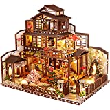 JDJFDKSFH Modelo arquitectónico Kit de construcción con Muebles, Caja de música LED, Casa de muñecas de Madera en Miniatura, Serie de Capitales de Luna Antigua, desafío de ROM
