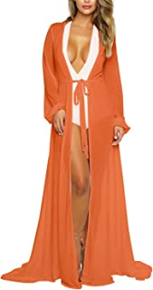 Women's Sexy Thin Mesh Long Sleeve Tie Front Swimsuit Swim Beach Maxi Cover Up Dress