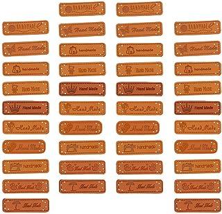 40 peças de etiqueta de couro sintético artesanal para decoração de joias, decoração de artesanato com buracos e botão de ...
