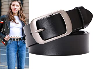 Fashion Womens Cowhide Leather Belts for Jeans Pants with Metal Pin Buckle Ladies Retro Vintage Leather Waist Belt By SUOSDEY