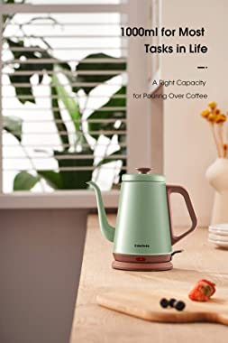 DmofwHi Gooseneck Electric Kettle(1.0L), 100% Stainless Steel BPA Free Classic Pour Over Coffee Kettle | Tea Kettle - Green
