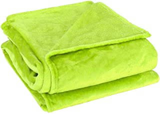 uxcell Flannel Fleece Blanket Soft Lightweight Plush Microfiber Bed or Couch Blanket, Yellow Green Twin
