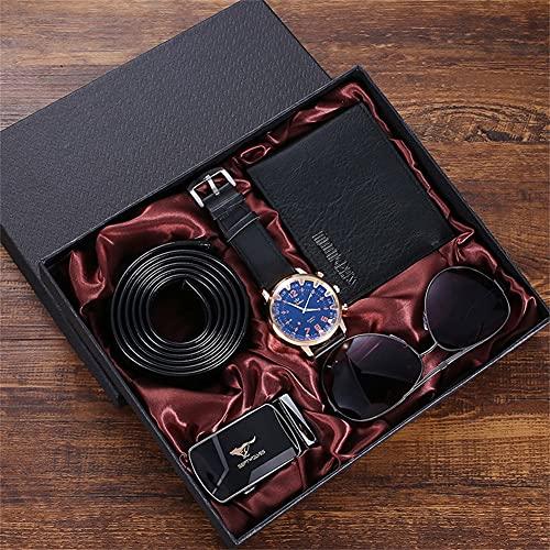 ZOZIZZ Fashion Watch Luxury Gifts Set para Hombres Gafas de Sol Top Calidad Cinturón Reloj de Pulsera Set de Billetera Plegable,Negro