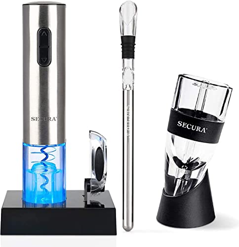 popular Secura Bundle Electric Wine Opener outlet online sale With discount Wine Aerator Pourer and Wine Chiller Stick outlet online sale