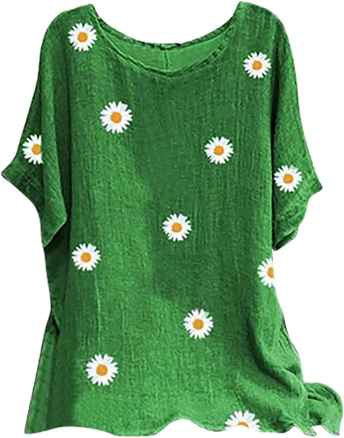 Womens Summer Tops Plus Size Cotton Linen Shirts Casual Crewneck Long Flowy Blouses Cute Daisy Breathable Graphic Tees