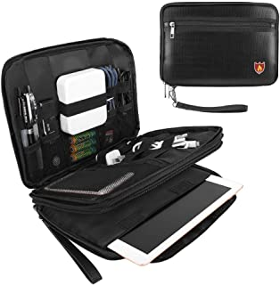 MoKo Fireproof Electronics Travel Gadget Organizer, Double Layer Electronic Accessories Organizer Storage Bag for Cables, Power Bank, Flash Drive, SD Cards, Tablet (Fits up to 7.9'') - Black