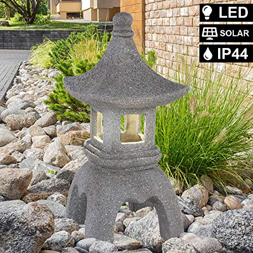 LED Solar Außen Steh Lampe Garten Asia Leuchte Pagode Statue Terrassen Strahler Globo 33567