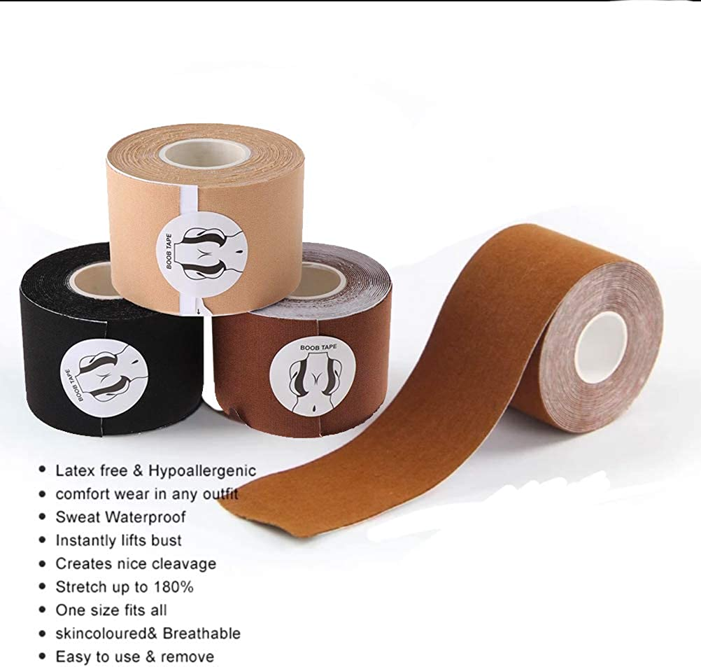 Bob Tape for Large Breasts Adhesive Bra 2inx16Ft A-G Cup Boob Tape Sticky Bra