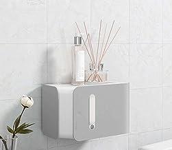 ABS plastic toiletrolhouder, wandmontage zonder boren gezichtstissue opbergdoos deksel, creatieve badkamerrolrolhouder-grijs