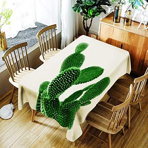 XXDD Mantel de Hoja de plátano 3D y Cactus Creativo patrón de Planta Verde cómodo Mantel Impermeable Cubierta A12 135x160cm
