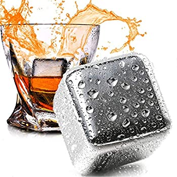 N/X Whiskey Stones Stainless Steel Ice Cubes Reusable 8 Pack Chilling Whiskey Rocks for Drinks with Tongs & Freezer Storage Tray for Whiskey Wine Beverage Gift Sets for Men