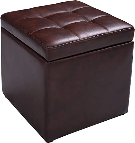 """Giantex 16"""" Cube Ottoman Pouffe Storage Box Lounge Seat Footstools W/ Hinge Top and Bottom Feet Home Living Room Bedroom Furniture Storage Ottoman 16""""×16"""" ×16""""Footrest Stool (Red Brown)"""
