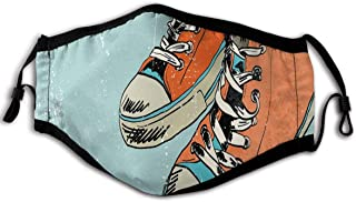 Fashion Comfortable Windproof mask,Old Fashioned Punk Sports Shoes With Murky Grunge Effects Youth Graphic Art,Printed Facial decorations for adult