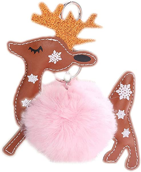 Essencedelight Lovely Reindeer Keychain Pendant Creative Car Bag Key Ring Charm Christmas Keychain Gift Fashion Ornament Pink