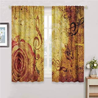 Jinguizi Rose soundproof Curtain Old Fashioned Design with a Big Rose and Treble Clefs Music Notes Harmonical Concept Window Curtain 2 Panel Cream Red 72 x 45 inch