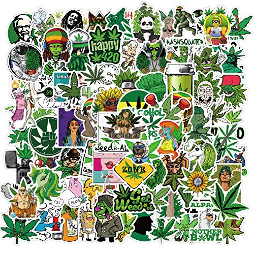 100Pcs Weed Stoners Stickers Pack Bulk| Cool PVC Fun Marijuana...