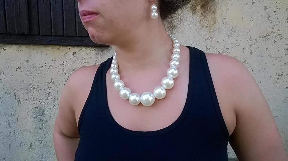 KOSMOS-LI Large Style Big Imitate Pearl Strand Choker Necklace with Earrings Set