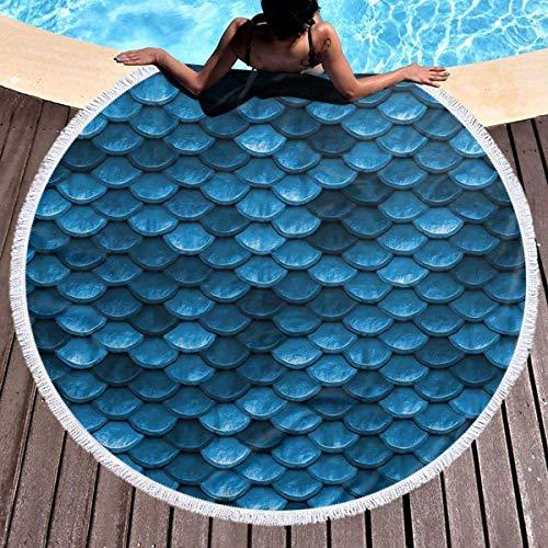 Escala de sirena Toalla de playa redonda azul Manta de microfibra Terry Estera de yoga Toalla Playa suave Roundie Circle 59 pulgadas Alfombra de picnic