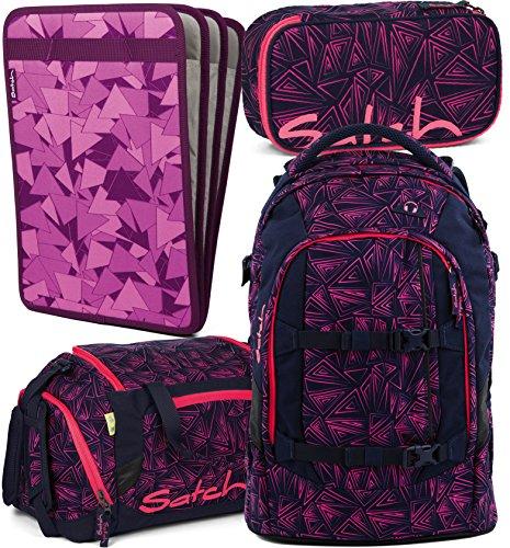 Satch Pack Pink Bermuda 4er Set Schulrucksack, Sporttasche, Schlamperbox & Heftebox Lila