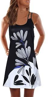 Sunhusing Ladies Sling Strapless Flower Print Tank Top Dress Sleeveless Mini A-Line Beach Sundress