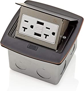 Leviton PFUS2-BZ Pop-Up Floor Box with Dual Type A, 3.6 USB Charger, 20 Amp Outlet, Bronze