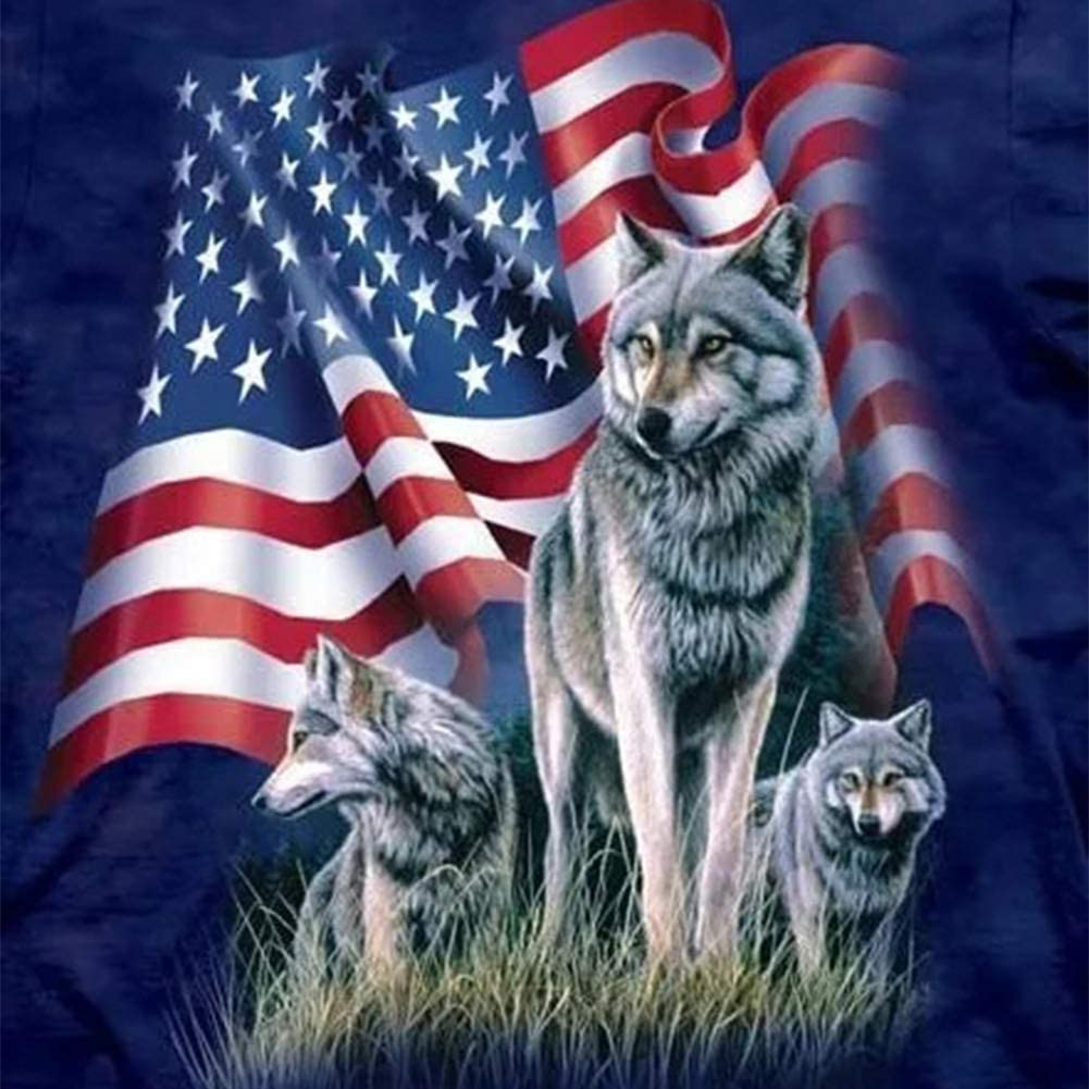 American Flag sold out 2021 spring and summer new Wolf 5D DIY Full Drill Diamond Painting Round Mosa