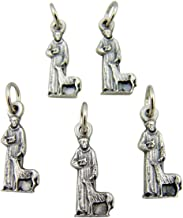 Lot of 5 Patron of Animals Saint Francis 3/4-inch Silver Tone Medal Petite Charm