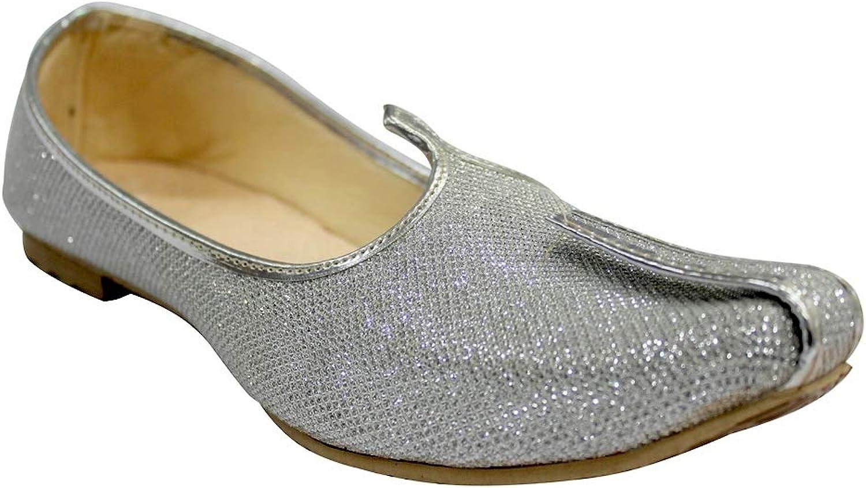 Step n Style silver Glitter herr herr herr bröllop skor for Sherwani Indian skor Jutti Mojari för herr  bra rykte