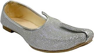 Step n Style Silver Glitter Mens Wedding Shoes for Sherwani Indian Shoes Jutti Mojari for Mens
