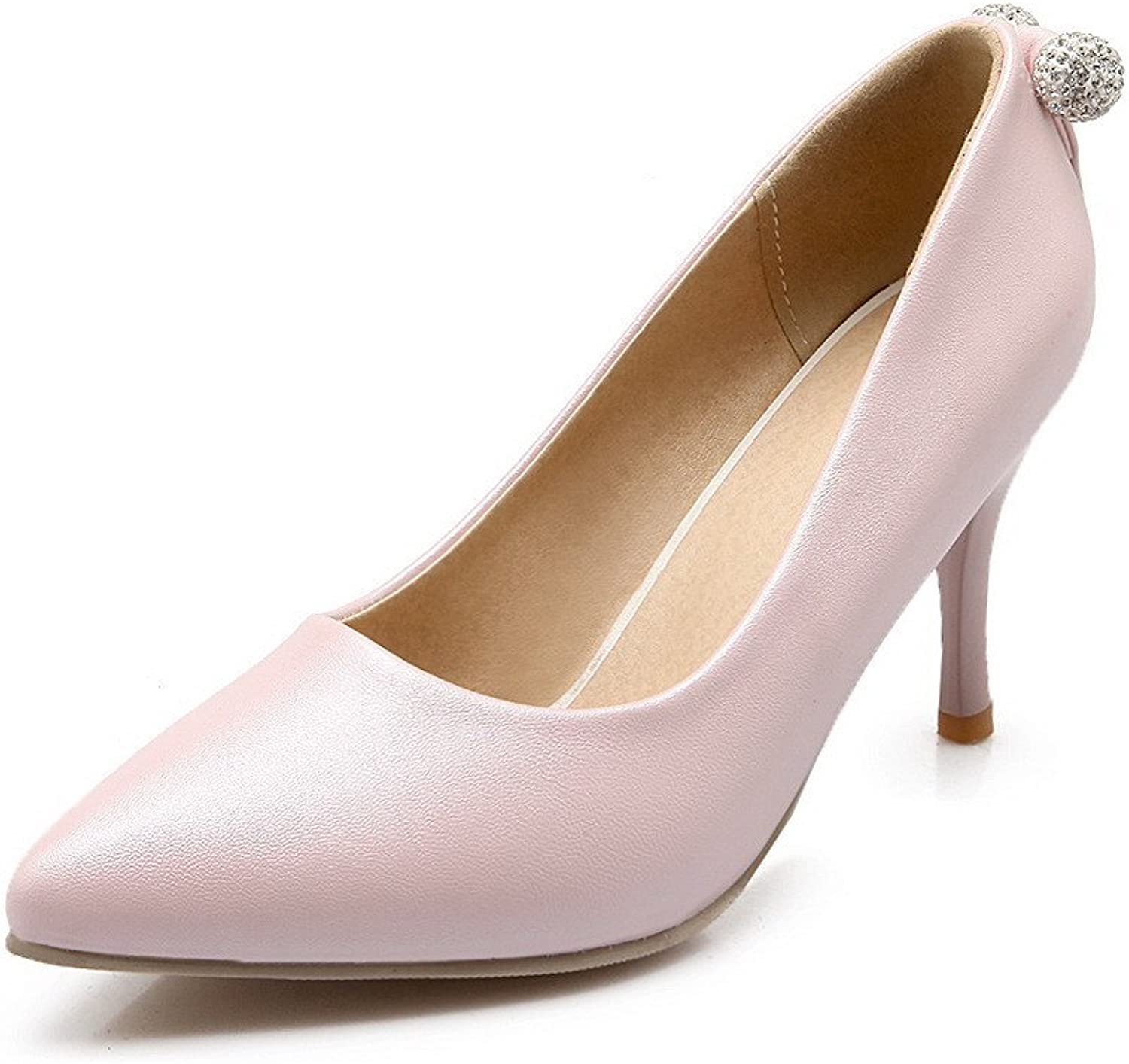 WeenFashion Women's Solid PU High-Heels Closed Pointed Toe Pull-on Pumps-shoes